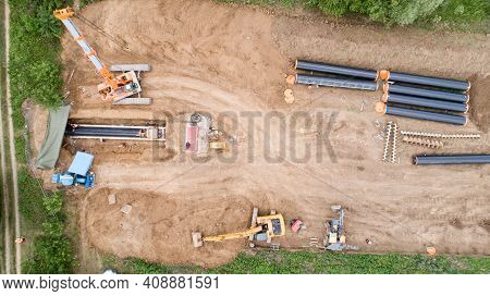 Gas And Oil Pipeline Construction. Pipes Welded Together. Big Pipeline Is Under Construction. Aerial