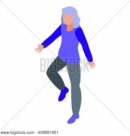 Physical Therapist Indoor Walking Icon. Isometric Of Physical Therapist Indoor Walking Vector Icon F
