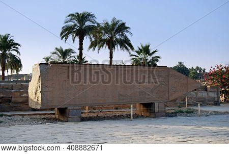 Ancient Big Obelisk At The Karnak Temple. Luxor, Egypt
