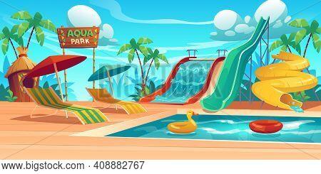 Aqua Park With Water Slides, Swimming Pool, Loungers And Umbrellas. Vector Cartoon Tropical Landscap