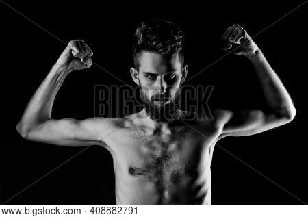 Slim Man. Hipster Guy Dieting With Serious Face And Bare Slim Or Thin Body, Chest And Torso With Ano
