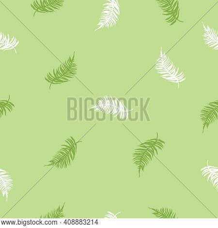 Seamless Pattern Of Tropical Fern Leaves On Dark Green. Beautiful Print With Exotic Plants. Botanica