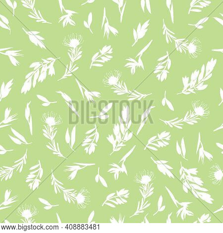Greenery Seamless Pattern In Hand-drawn Style. Botanical Design Of Fabrics, For Natural Cosmetics, P