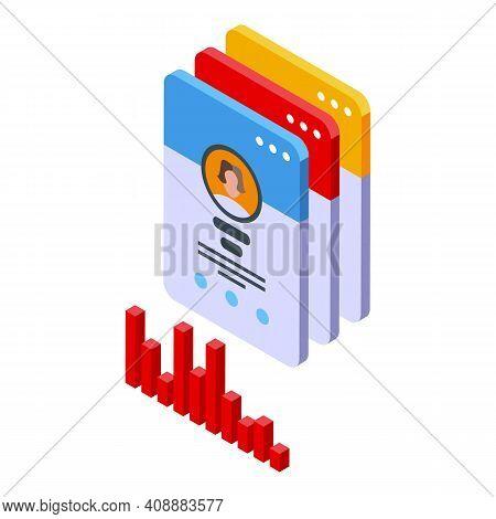 Customer Database Profiles Icon. Isometric Of Customer Database Profiles Vector Icon For Web Design
