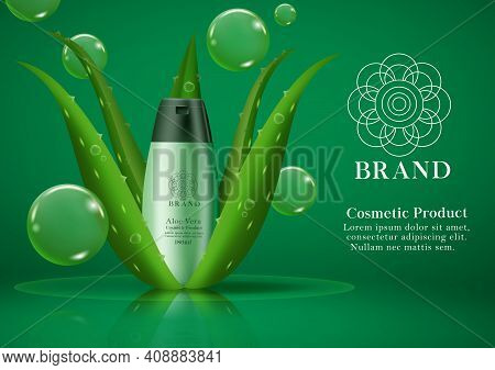 Cosmetic Aloe Vera Product Vector Template Design. Cosmetic Shampoo Product With Aloe Vera Plant Ext