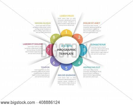 Circle Diagram Template With Eight Steps Or Options, Infographic Template For Web, Business, Present