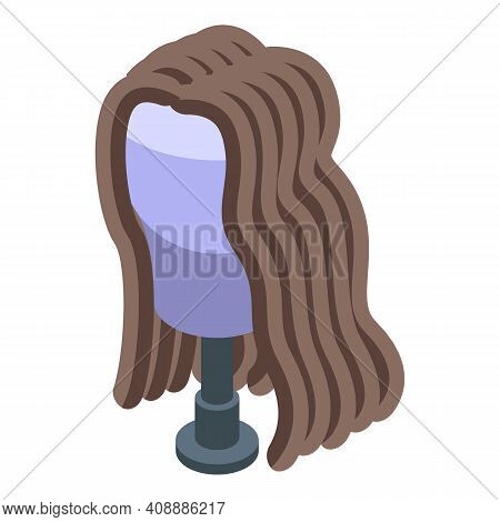 Wavy Hair Wig Icon. Isometric Of Wavy Hair Wig Vector Icon For Web Design Isolated On White Backgrou