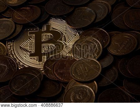 Bitcoin Is Half-filled With Old Coins. Bitcoin Is Visible Under The Kopeks.
