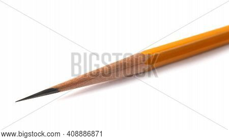 An Acutely Honed Pencil On A White Background.
