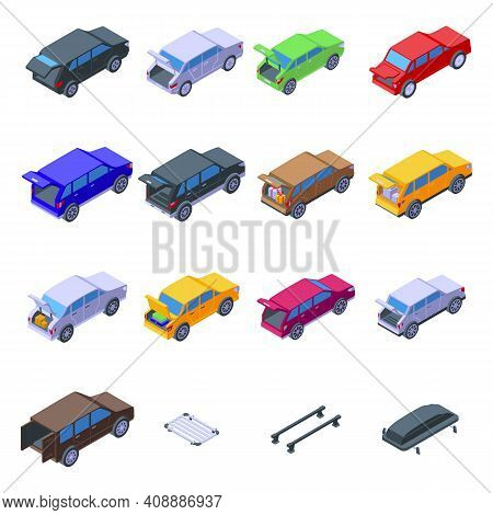 Trunk Car Icons Set. Isometric Set Of Trunk Car Vector Icons For Web Design Isolated On White Backgr