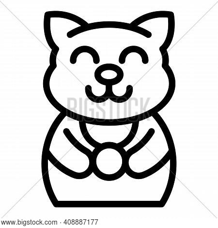 Lucky Cat Icon. Outline Lucky Cat Vector Icon For Web Design Isolated On White Background