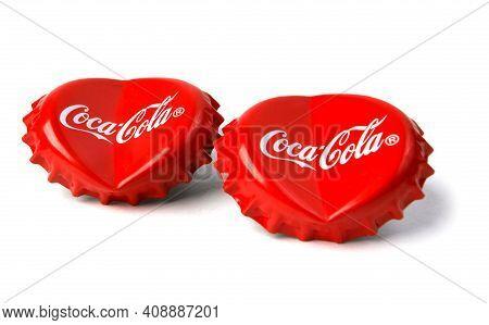 Coke Cap Hearts. Hearts On A White Background. Coca-cola Covers.
