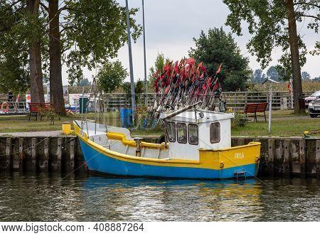 Katy Rybackie, Poland - Sept 4, 2020: Fishing Boats In Port On The Vistula Lagoon In Katy Rybackie V