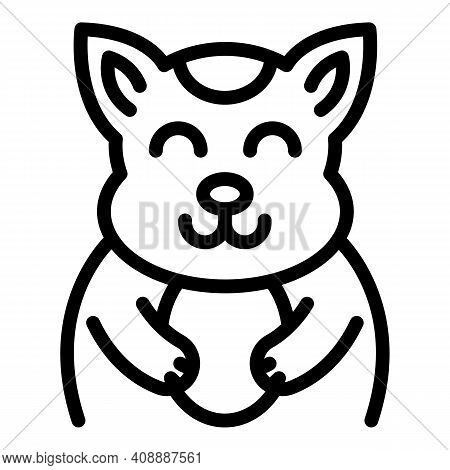 Ceramic Cat Icon. Outline Ceramic Cat Vector Icon For Web Design Isolated On White Background