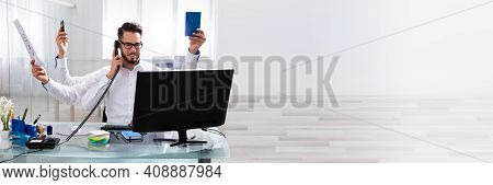 Happy Busy Boss In Office Multitasking. Workload At Workplace
