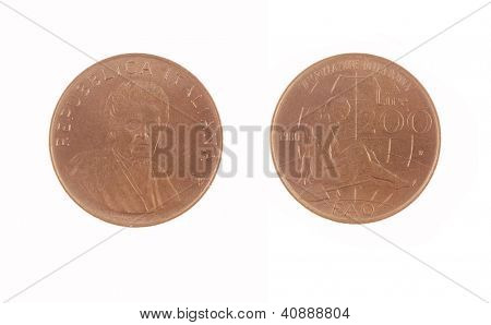 old Italian 200 Lire coin isolated on white