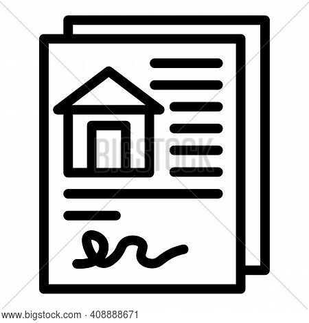 Home Purchase Document Icon. Outline Home Purchase Document Vector Icon For Web Design Isolated On W