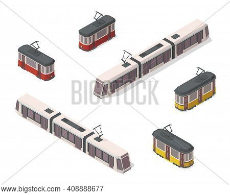 Vector Isometric Illustration Of Yellow, Red And White Trams. Railroad Elements. Front And Back. Old