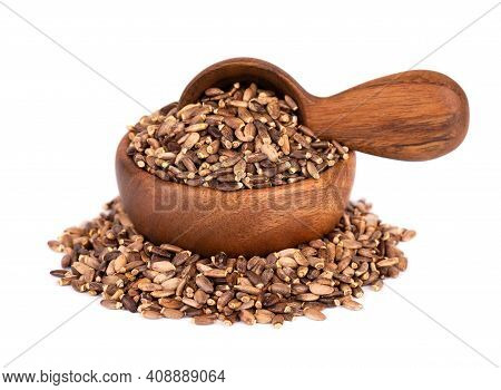 Milk Thistle Seed In Wooden Bowl And Spoon, Isolated On White Background. Silybum Marianum, Scotch T