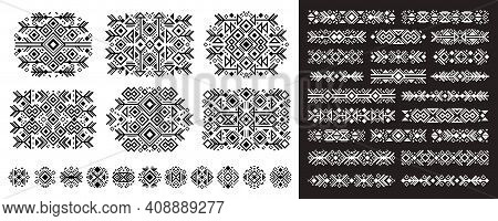 Navajo Elements Set In Boho Style On White And Black. Abstract Aztec Elements. National Tribal Patte