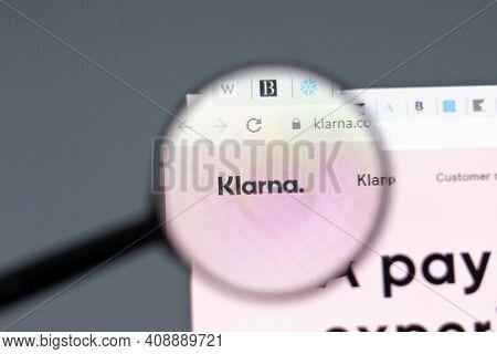 New York, Usa - 15 February 2021: Klarna Website In Browser With Company Logo, Illustrative Editoria