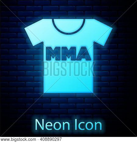 Glowing Neon T-shirt With Fight Club Mma Icon Isolated On Brick Wall Background. Mixed Martial Arts.