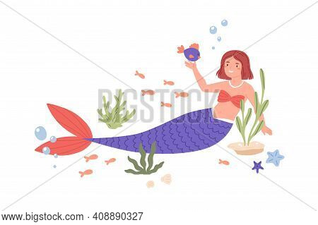 Pretty Mermaid With Violet Tail Playing With Fish At Sea Bed. Cute Underwater Fairy Princess In Seas