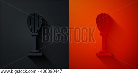 Paper Cut Punching Bag Icon Isolated On Black And Red Background. Paper Art Style. Vector