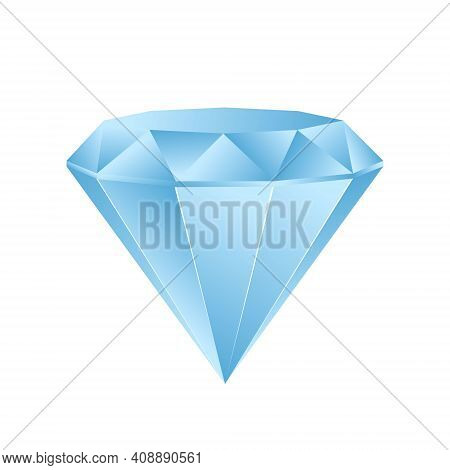 Vector Blue Shine Diamond Isolated On White For Your Design