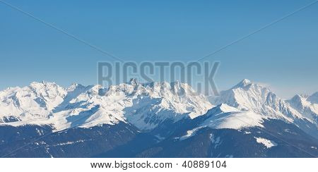 Alpine Mountain Peaks Panorama in South Tyrol Italy. poster