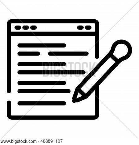Writing Web Review Icon. Outline Writing Web Review Vector Icon For Web Design Isolated On White Bac