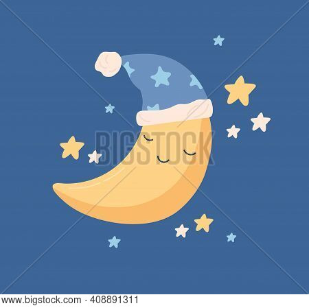 Cute Yellow Half Moon Sleeping In Hat With Pompom At Night Sky With Stars. Sweet Baby Crescent Chara