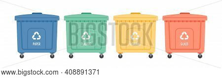 Containers Or Recycle Bins For Paper, Plastic, Glass And General Trash. Concept Of Separate Garbage
