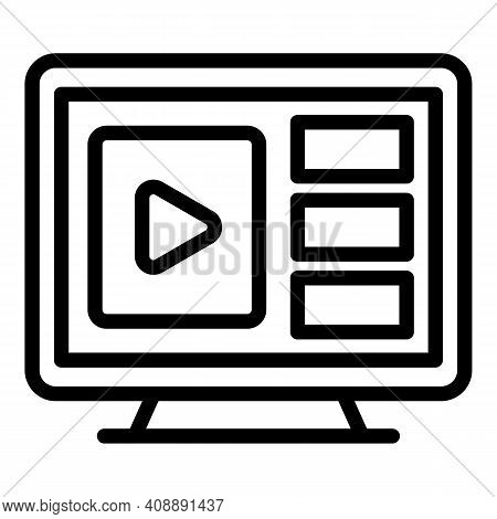 Flat Interactive Tv Icon. Outline Flat Interactive Tv Vector Icon For Web Design Isolated On White B