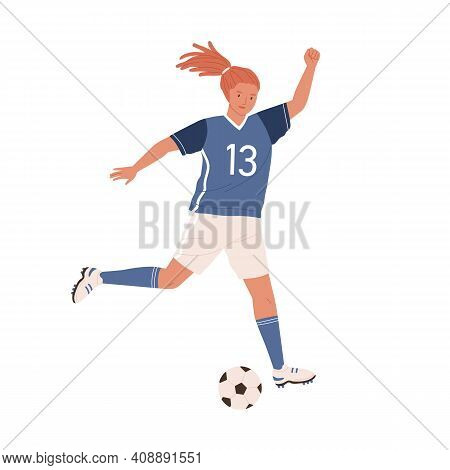 Young Female Soccer Player Running Up And Kicking Ball Forward. Woman Playing Football In Blue Sport