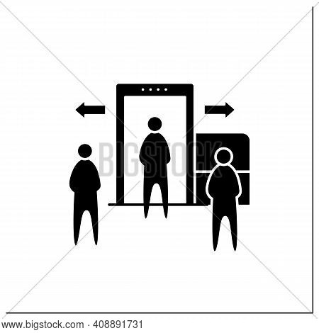 Passenger Processing Line Icon. Decentralise Passengers Processing. Moving Security Screening To Ext