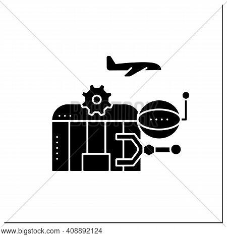 Airport Robotization Glyph Icon. Security Robot To Patrol Airport. Using Robotics To Make People Wor