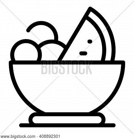 Tasty Fruit Salad Icon. Outline Tasty Fruit Salad Vector Icon For Web Design Isolated On White Backg