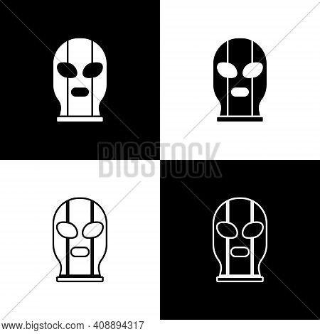 Set Mexican Wrestler Icon Isolated On Black And White Background. Vector