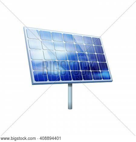Solar Panel On White Background Realistic Vector Illustration