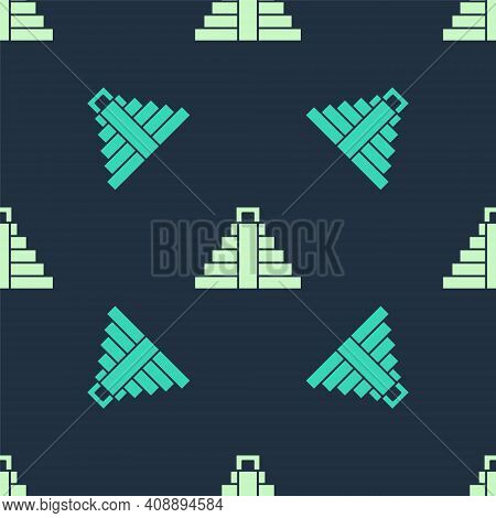 Green And Beige Chichen Itza In Mayan Icon Isolated Seamless Pattern On Blue Background. Ancient May