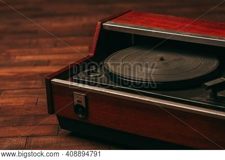 Red Gramophone Record Player Vintage Nostalgia Wood Background