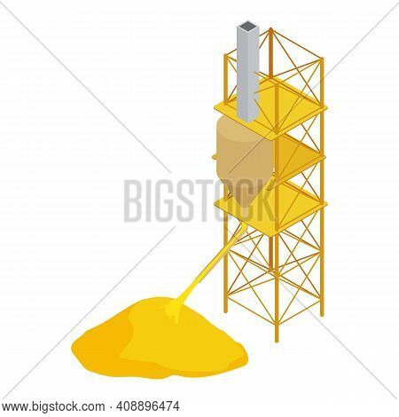 Refinery Plant Icon. Isometric Of Refinery Plant Vector Icon For Web Design Isolated On White Backgr