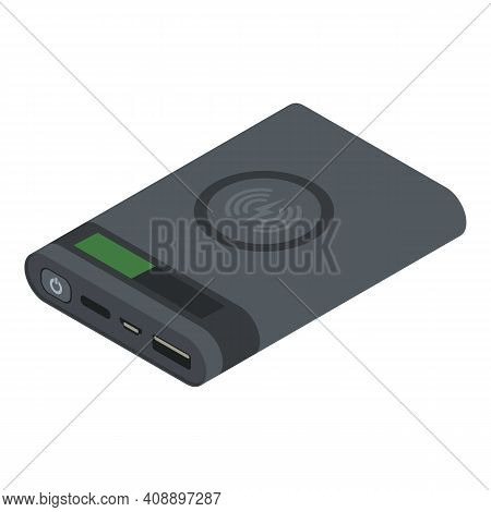 Powerbank Wireless Charger Icon. Isometric Of Powerbank Wireless Charger Vector Icon For Web Design