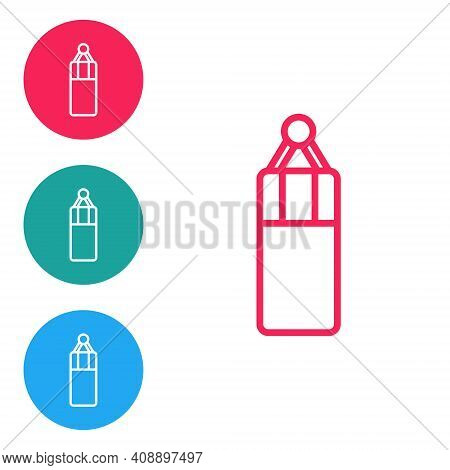 Red Line Punching Bag Icon Isolated On White Background. Set Icons In Circle Buttons. Vector