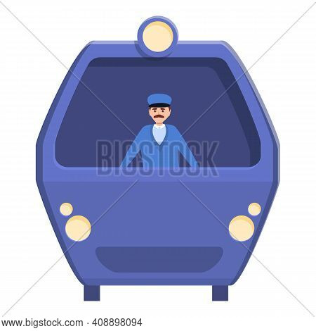 Driver In Subway Car Icon. Cartoon Of Driver In Subway Car Vector Icon For Web Design Isolated On Wh