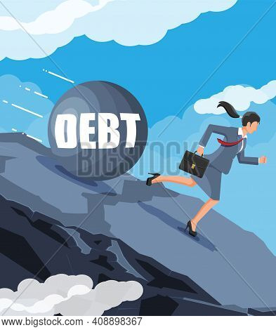 Businesswoman On Mountain Running Away From Big Debt Weight. Business Woman With Briefcase And Wreck