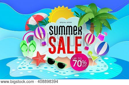 Summer Sale Vector Banner Design. Summer Sale Up To 70% Off Text In Beach Island Background With Tro