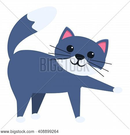 Playful Cat Character Icon. Cartoon Of Playful Cat Character Vector Icon For Web Design Isolated On