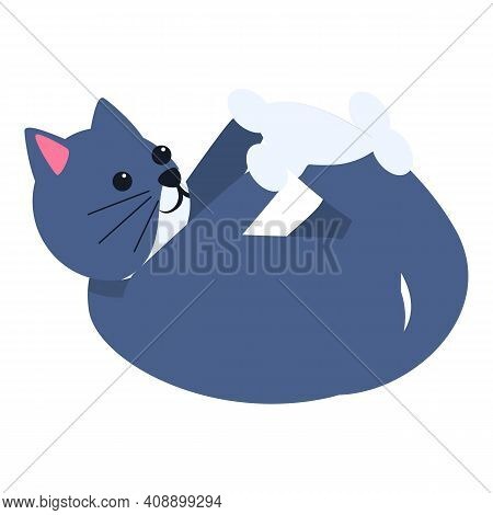 Playful Cat Happy Icon. Cartoon Of Playful Cat Happy Vector Icon For Web Design Isolated On White Ba